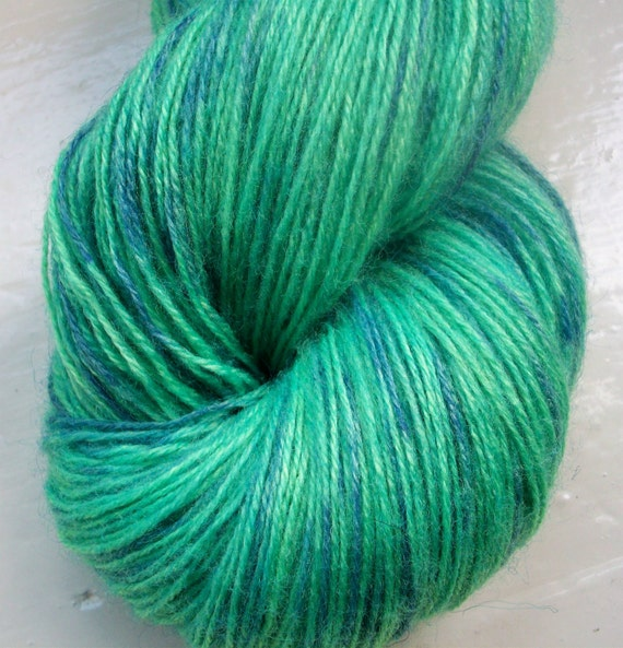 Hand painted yarn 100g. angora laceweight green blue