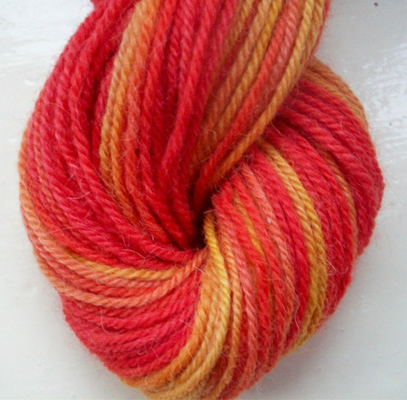 Hand painted yarn gold scarlet red 50g