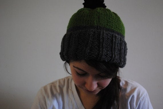 green and grey color block beanie