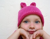 HOT PINK RABBIT Knit Hat (toddler 1 - 5 years old)