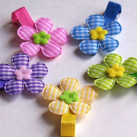 5 Big Gingham Flower Hair Clips with NON SLIP Grip