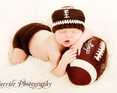 Football Hat ,baby hat, diaper cover set ,Size newborn 0-3 , 3-6, 6-12 months classic or pick team colors