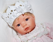 Baby Girl crown white with Pearls and ribbon baby infant photography prop