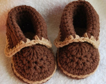 crochet Chocolate/Tan moccasins shoes U pick size (Great for portraits)