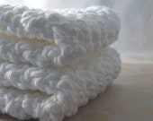 Crochet White Cotton Wash Cloths, Dish Cloths, Eco Friendly, Reusable, Cleaning, Bathing, Handmade Bath Accessory