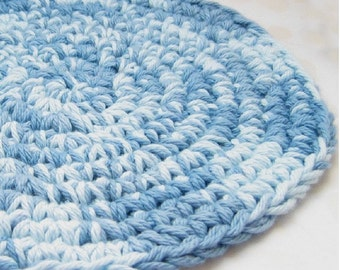 Blue Trivet, Crochet Hotpad, Cotton Hot Pad, Table Accessory ,Denim Blue Crochet Table Coaster, Dining Room Decor, Blue Kitchen Accessory