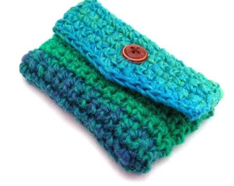 Crochet Card Case, Purse Accessory, Business Card Holder, Crochet Cozy, Blue and Green, Womens Accessories, Credit Card Keeper