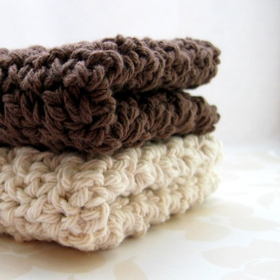 Cotton Crochet Washcloths, Ivory and Brown Dish Cloths