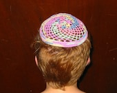 Crocheted Multicolor Kippah/Yarmulke