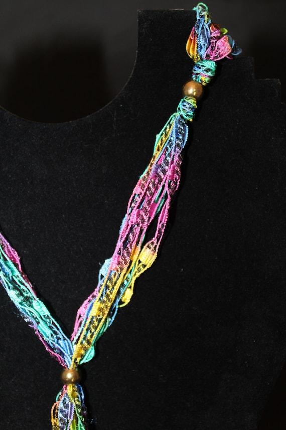 Pattern For Crocheted Yarn Adjustable Necklace Ladder Yarn