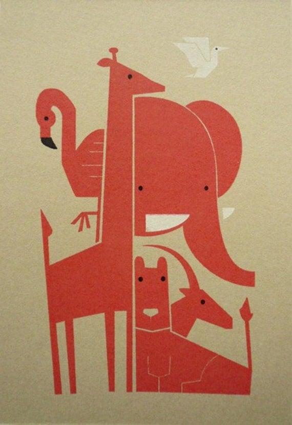 Savanna Buddies - Limited Edition Gocco Print - Coral Pink