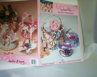 McCalls 14213  Basket Boutique Fabric Craft Booklet,Gift Baskets,Fabric Baskets, Handcrafted Container Basket,Recycled Containers, SEWBUSY12