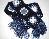 Granny Square Scarf in Blue Black and White