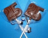 2 Dozen   25th Birthday Anniversary Chocolate Lollipops