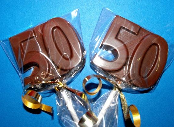 2 Dozen 50th Birthday Anniversary Chocolate Lollipops