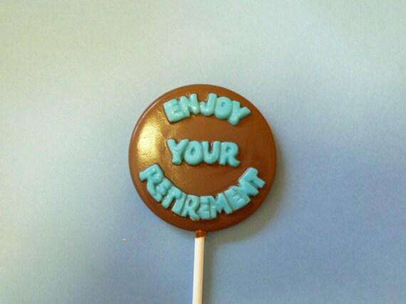Lot 24 Retirement chocolate lollipop favors