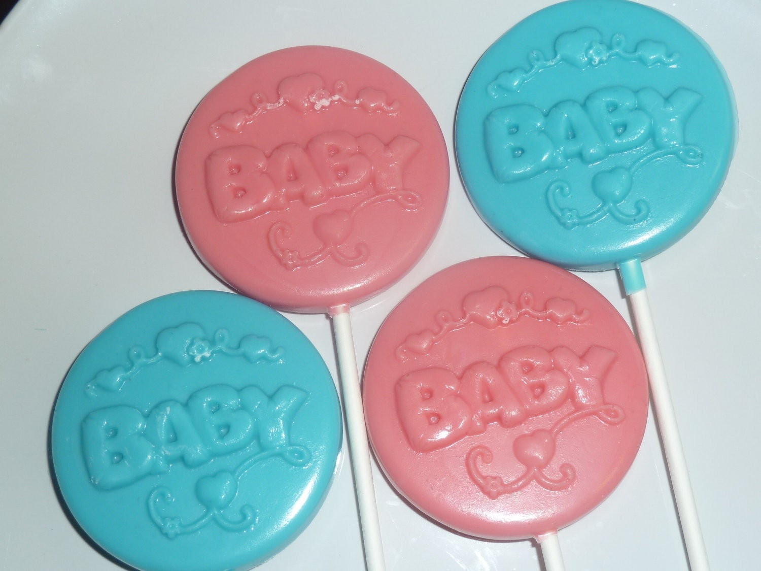 two dozen baby chocolate lollipops baby shower by candycrafts