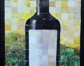 Vintage Wine Bottle Paper Mosaic