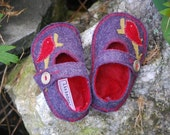 Wool Felt Mary Jane Slippers with Vegan Soles- Purple w\/Bird on a Branch