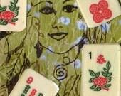 ACEO-Small Art Card-Mah Jongg Girl