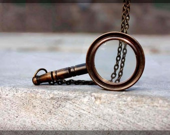 Magnifying glass Necklace - Vintage tooling -  Solid Brass -
