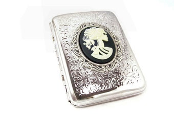 Steampunk Gothic Cards Holder and Cigarettes Case - Steampunk Squeleton Goddess