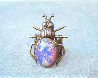 Steampunk Beetle Ring - Vintage Arlequin Glass Jewel