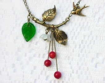 Retro Victorian necklace - First Cherries baby swallow necklace