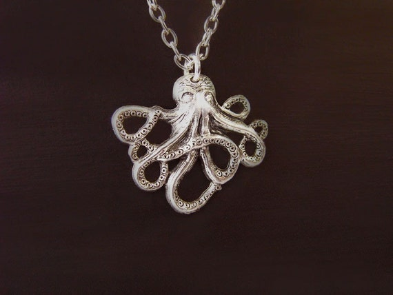 SET .. Antique Silver Small Kraken Octopi Necklace and Earrings