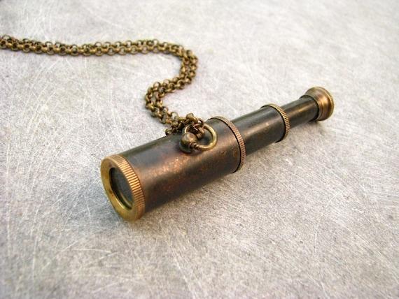 The Adventurer Spyglass Telescope Brass Steampunk Necklace -
