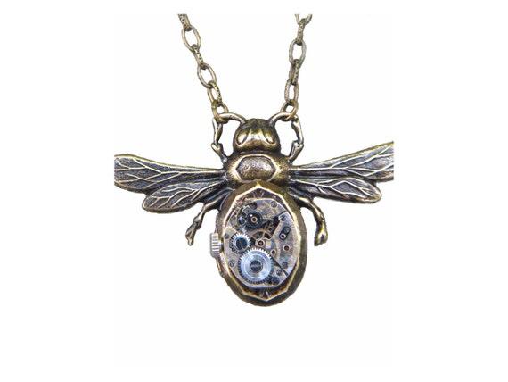 Steampunk Locket Necklace  Timepiece Large Bee Antique Brass Aevalillith Studio New Creation