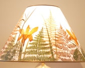 Pressed Plant and Paper Collage Lampshade only - Day Lilies & Fern