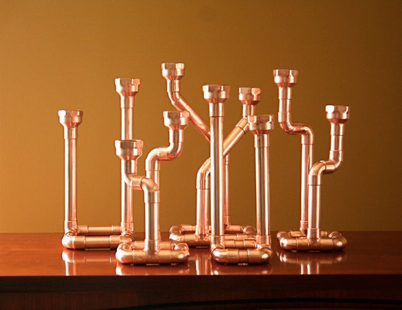 Industrial Decor Copper Pipe Candlestick, Candle Holder, Centerpiece, Candelabra