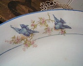 SALE Vintage 1920s Bluebird China platter large - Saxon China Ohio potteries