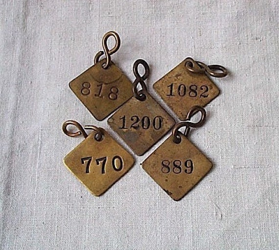 6 Vintage Brass Tags Numbered - Randomly chosen numbers - recycled  industrial for mixed media jewelry assemblage altered art