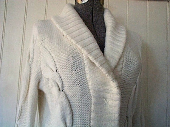 Chunky cardigan shawl collar cable, snow white - vintage 1980s
