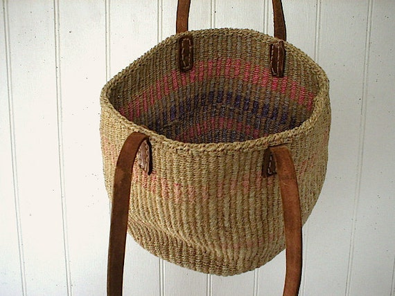 Vintage Woven Sisal Leather Bag Handwoven African