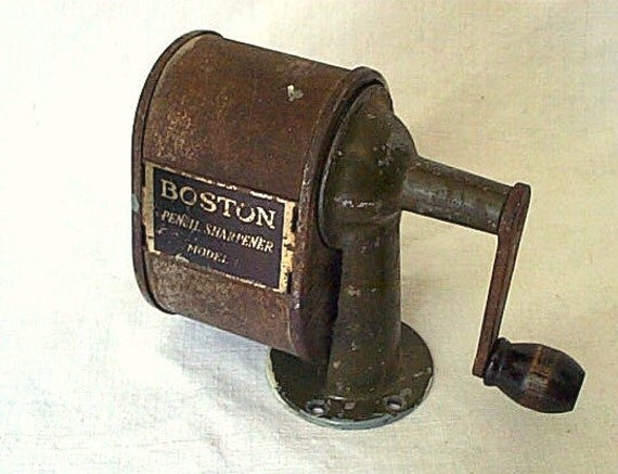 SALE Vintage pencil sharpener Boston L, old school schoolhouse industrial