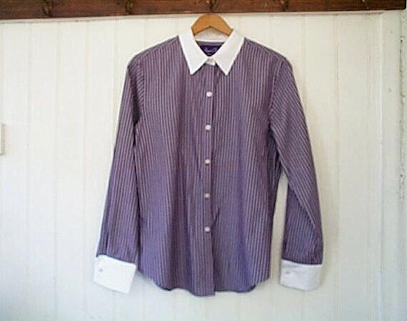 SALE Pinstripe oxford shirt French cuffs - dusty amethyst - women small medium