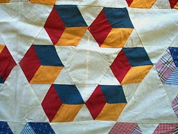 Antique quilt top, graphic stars medallion Tumbling Blocks, mint - turkey red, cheddar, indigo calico, homespun check - American Folk Art