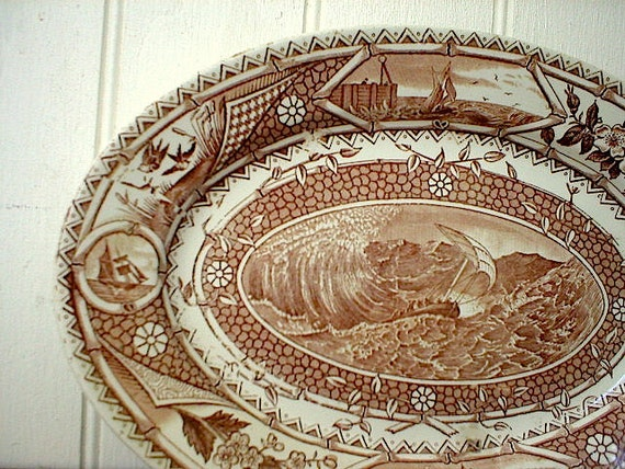 RESERVED for A. thru 03/19 SALE Brown Aesthetic transferware platter nautical, cinnamon brown, Phileau G T Turner  - 1870s Victorian