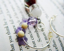 Glow in the dark purple glass bead dangle earrings