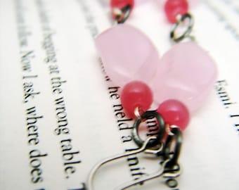 Rose pink glass bead dangles