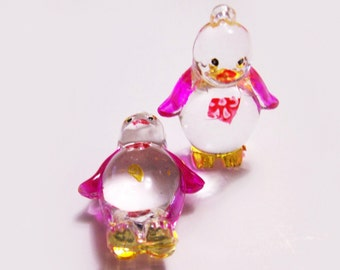 2 Plastic Penguin Charms - Pink and Yellow