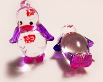 2 Plastic Penguin Charms - Purple and Pink