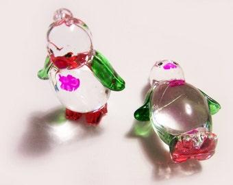 2 Plastic Penguin Charms - Green and Red