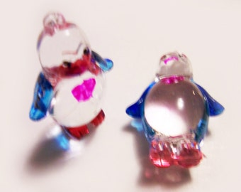2 Plastic Penguin Charms - Blue and Red