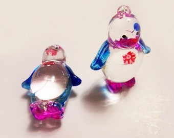 2 Plastic Penguin Charms - Blue and Pink