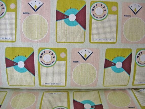 Japanese Fabric Melody Miller Retro Transistor Radio Print 1 yard