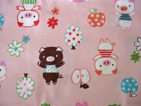 Pigs Cute little Piggies and applesTrefle by Kokka Japanese Fabric Quilting  fat quarter